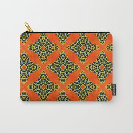 Beautiful Orange, Blue and Yellow beadwork inspired print Carry-All Pouch