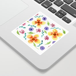 Yellow Floral Watercolor Pattern Sticker