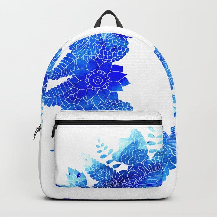 Blue Floral Pattern 01 Backpack