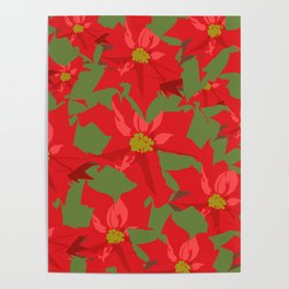 Poinsettia Love (Red) Poster