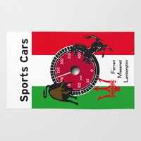lamborghini Area & Throw Rugs featuring Ferrari, Maserati, Lamborghini : an italian trilogy. Vintage Decoration Print Poster by CHR Design Posters