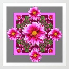 Abstracted  Fuchsia Dahlias Geometric Stylized Floral Grey Garden Art Print