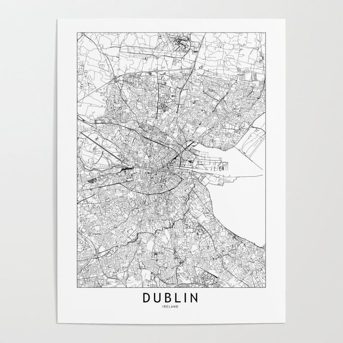 Dublin White Map Poster