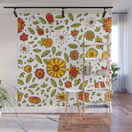 Spring Flitty Flowers Wall Mural