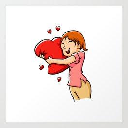 Girl hugging heart. Art Print