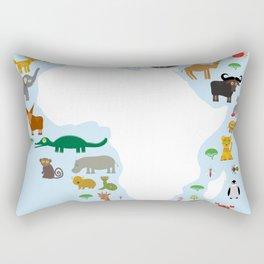 Animal Africa: parrot Hyena Rhinoceros Zebra Hippopotamus Crocodile Turtle Elephant Mamba snake Rectangular Pillow