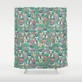 Schnauzer florals dog must have gifts for schnauzers pure breed Shower Curtain