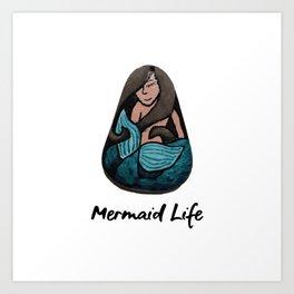 Mermaid Life Rock Painting By annmariescreations Art Print