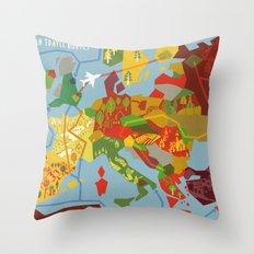 Abstract European Travel Map Throw Pillow