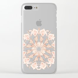 Rose Gold Gray Lilies Mandala Clear iPhone Case