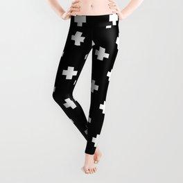 White Swiss Cross Pattern on black background Leggings