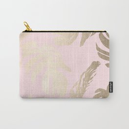 Simply Tropical Palm Leaves White Gold Sands on Flamingo Pink Carry-All Pouch