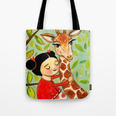 Giraffe Hug sweet painting by Tascha Parkinson Tote Bag