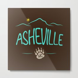 Asheville, NC - Black Bear Paw - AVL 14 Chocolate Brown Metal Print