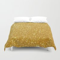gold glitter Duvet Covers featuring GOLD GLITTER by I Love Decor