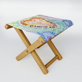 Rainbow Heart Colorful What Cancer Cannot Do Poem Folding Stool