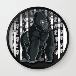 Lonely Gorilla In The Mountain High Wall Clock