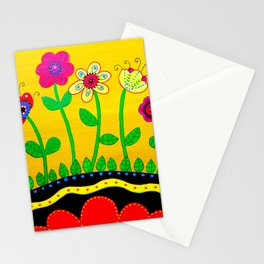 Mexican Folk Art Whimsical Flowers  Painting Stationery Cards