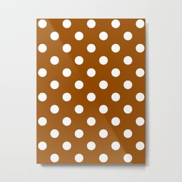 Polka Dots - White on Brown Metal Print
