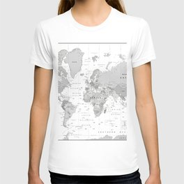 World Map [Black and White] T-shirt