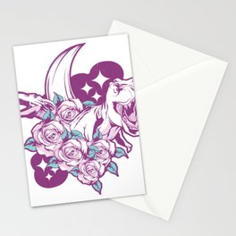 Pink dinosaur with flowers Stationery Cards