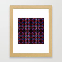 Cart Handle Semi-Plaid In Red, Pink, Blue, and Black Framed Art Print