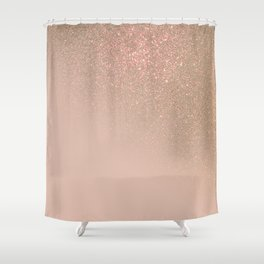 Diagonal Chic Gold Taupe Glitter Gradient Ombre Shower Curtain