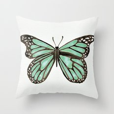 Mint Butterfly Throw Pillow