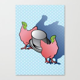 Chickens love Top Hats Canvas Print