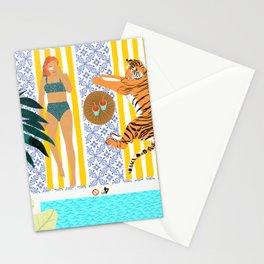 How To Vacay With Your Tiger #illustration Stationery Cards