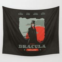 dracula Wall Tapestries featuring Dracula movie poster by Inno Theme