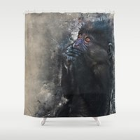gorilla Shower Curtains featuring Gorilla by jbjart
