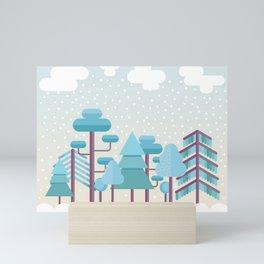 Snowy Winter Forest Mini Art Print