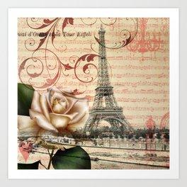 vintage chandelier white rose music notes Paris eiffel tower Art Print