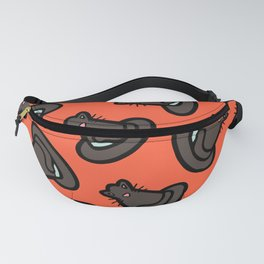 Witches Cat Hat pattern in red Fanny Pack