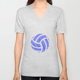 Blue Volleyball Wordcloud - Gift Unisex V-Neck