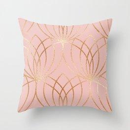 Rose gold millennial pink blooms Throw Pillow