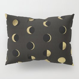 The Lunar Cycle • Phases of the Moon – Black & Gold Palette Pillow Sham