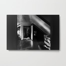Abandoned Attic Room - Black & White Metal Print