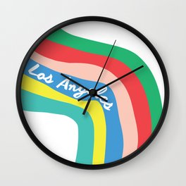 LOS ANGELES RAINBOW STRIPES Wall Clock