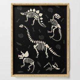 Dinosaur Fossils on Black Serving Tray