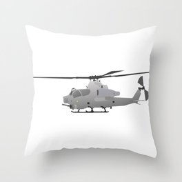 American Grey Attack Helicopter Throw Pillow