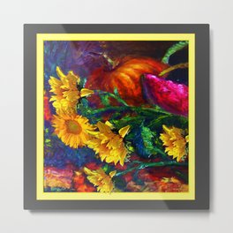Sunflowers & fruit Fall Still Life Painting Metal Print