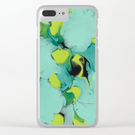 Marble green Clear iPhone Case