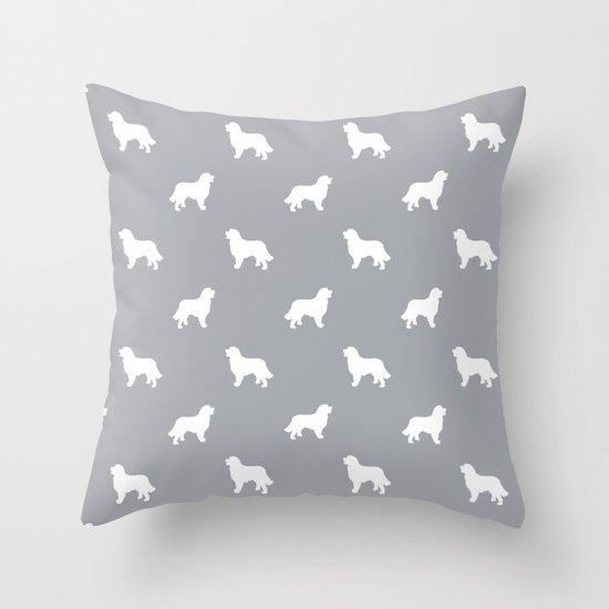 Bernese Mountain Dog pet silhouette dog breed minimal grey and white pattern Throw Pillow by Pet ...