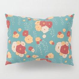 Anemone Floral Bouquets on Blue Pillow Sham