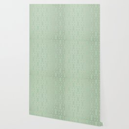 Simply Mid-Century in White Gold Sands and Pastel Cactus Green Wallpaper