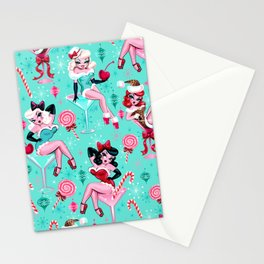 Christmas Candy Martini Pinup Girls Stationery Cards