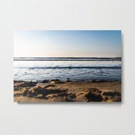 Landscape beach Photography - Calming Waves - Blue sky - Framed Art Canvas Print Metal Print