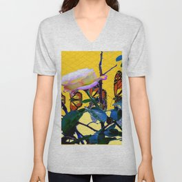 MONARCH BUTTERFLIES & ROSE ABSTRACT Unisex V-Neck